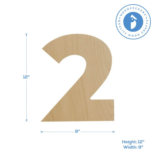 """Wooden Number 2 Cutout, 12"""""""