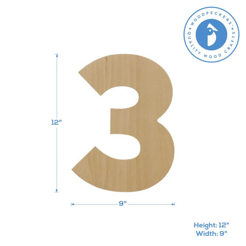 """Wooden Number 3 Cutout, 12"""""""