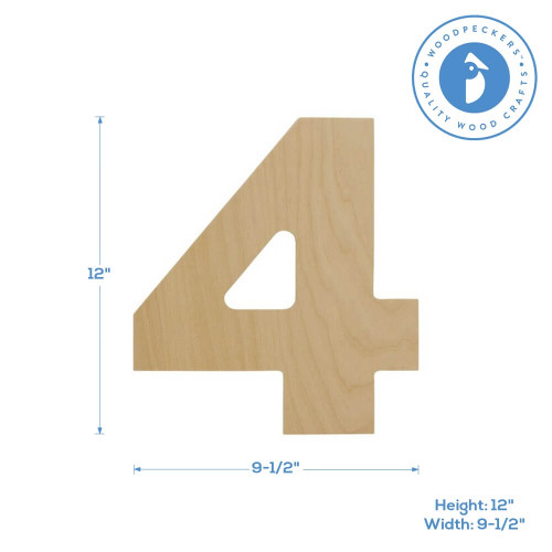 """Wooden Number 4 Cutout, 12"""""""