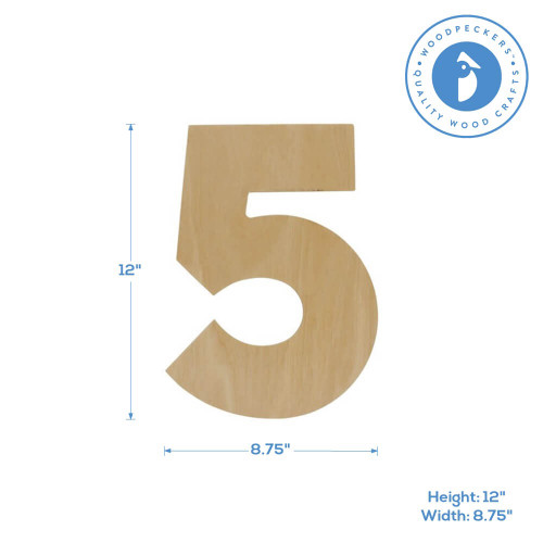 """Wooden Number 5 Cutout, 12"""""""