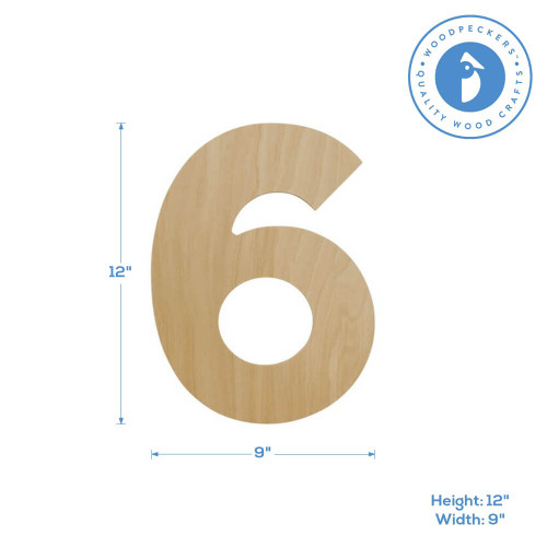 """Wooden Number 6 Cutout, 12"""""""