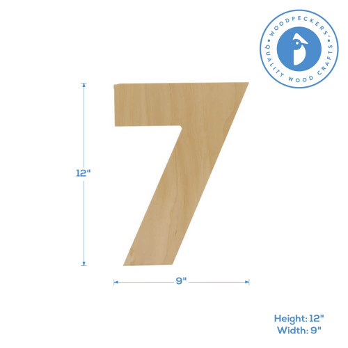 """Wooden Number 7 Cutout, 12"""""""