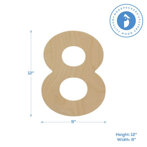 """Wooden Number 8 Cutout, 12"""""""