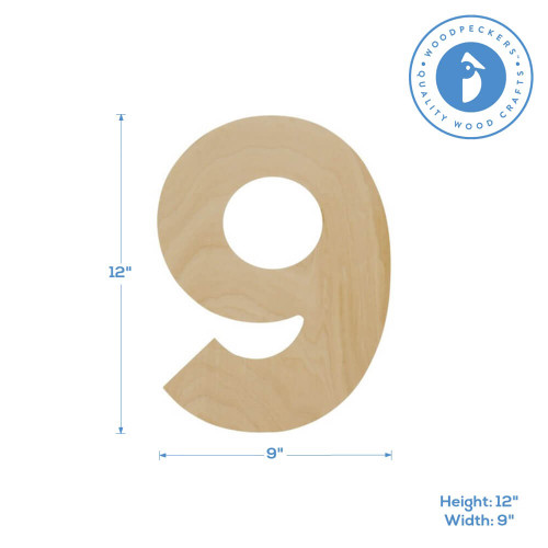 """Wooden Number 9 Cutout, 12"""""""