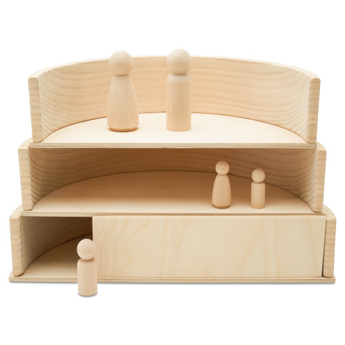 Wooden Semicircle Building Set, Set of 11