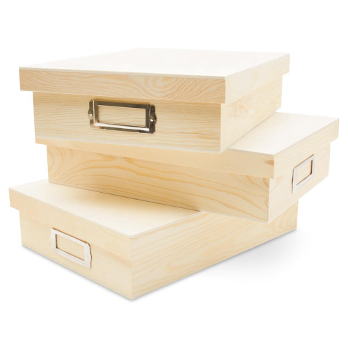 """Wooden Box with Lid, 12-3/8"""""""