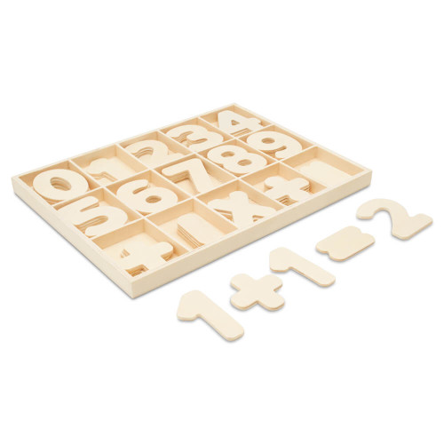 Unfinished Wood Sorting Tray With Number Cutouts