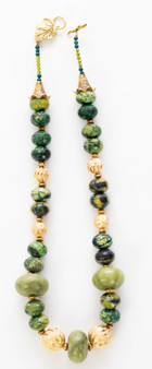 Chrysocolla & Moroccan Berber Amber Necklace Set