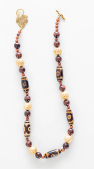 Tibetan Agate & Red Tiger's Eye Necklace Set