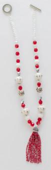 Red & White Fancy Tassel Necklace Set