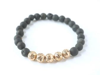 Black Druzy Stone w/ Gold