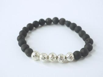 Black Druzy Stone w/ Silver