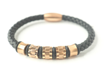 Black Leather Bracelet w/ Gold