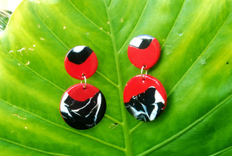 Red/ Black Marble Earrings
