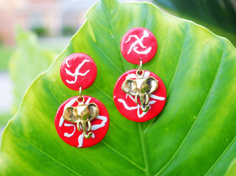 Red & White Elephant Earrings