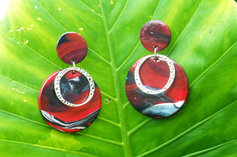 Large Red & White Marble Earrings