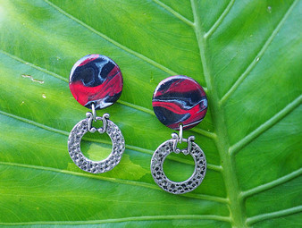Red & Black Decorative Earrings