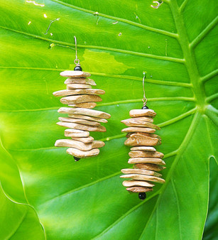 Light Brown Wood Chip Earrings