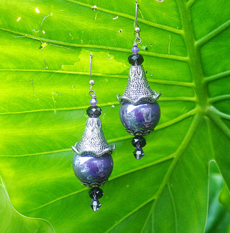 Purple Ceramic Bead Earrings