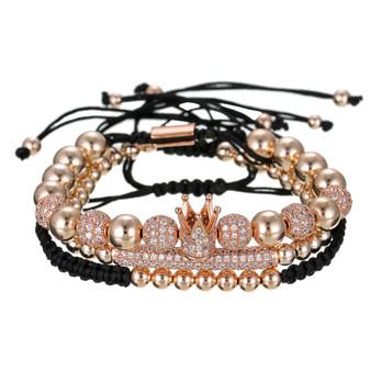 Pave Rhinestone Crown Bracelet Set