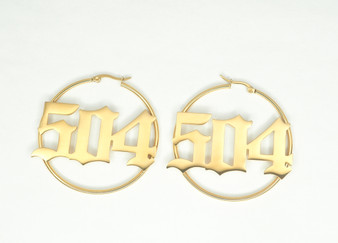 "Gold ""504"" Hoop Earrings"