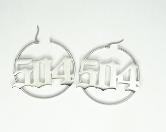 "Silver ""504"" Hoop Earrings"