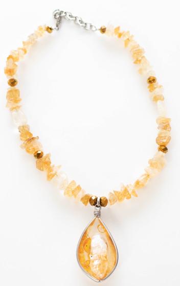 Citrine & Gold Necklace Set