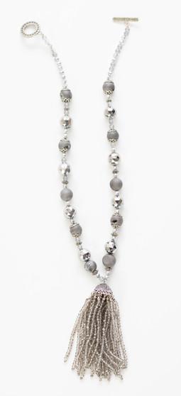 Grey Fancy Tassel Necklace Set