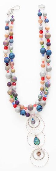 Multi Color Druzy & Swarovski Crystal Necklace Set