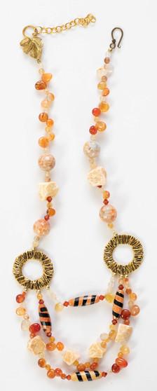 Orange Tibetan Agate Necklace Set