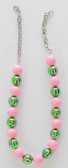 Pink & Green Beads Necklace Set