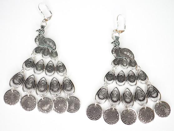 Silver Peacock Earrings