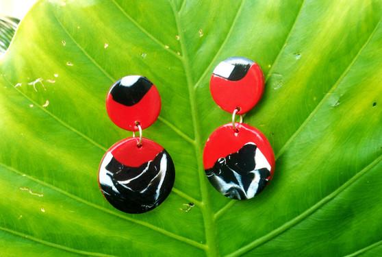 Red/ Black Marble Earrings