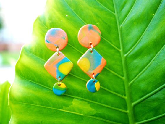 """Orange, Yellow, Blue """"Splatter"""" Earrings"""