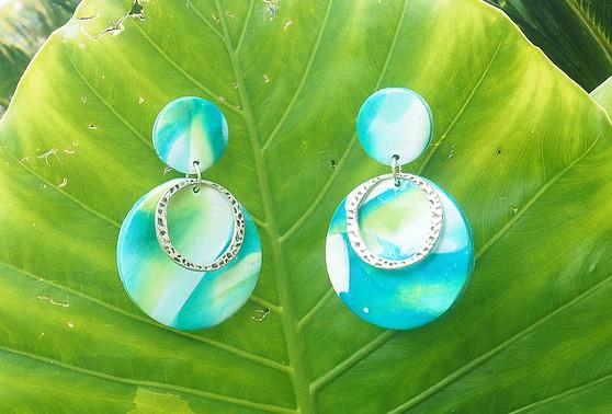 """""""Ocean Vibes"""" Blue/ Green Marble Earrings"""
