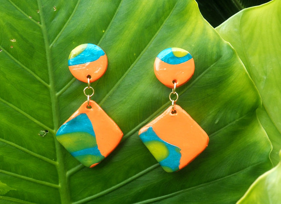 Orange, Blue, Yellow dangle earrings