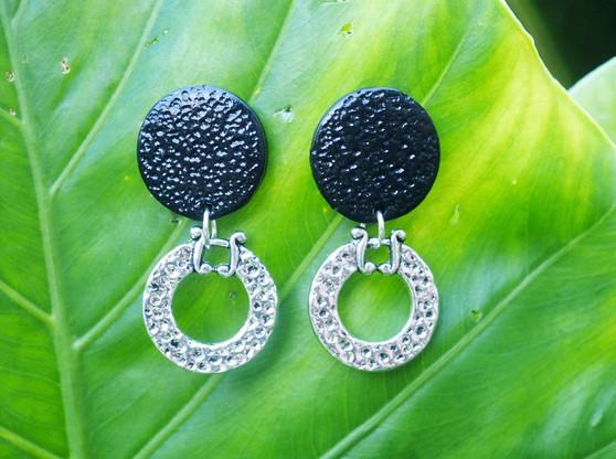 Simple & Black Decorative Earrings