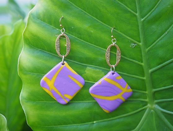 Purple & Yellow Decorative Earrings