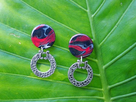 Red & Black Decorative Earrings