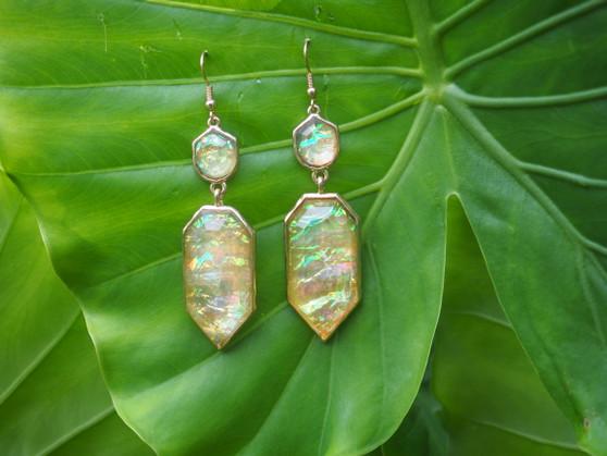 Yellow & Gold Iridescent Dangle Earrings