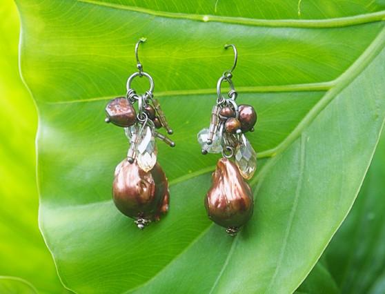 Brown Freshwater Pearl & Crystal Earrings