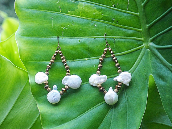 White Freshwater Pearl & Gold Crystal Earrings