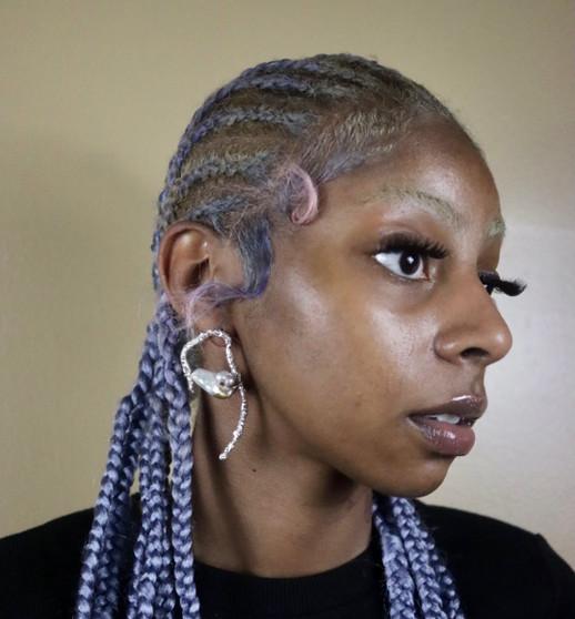"""Model wearing """"The Big Oyster"""" Earrings"""