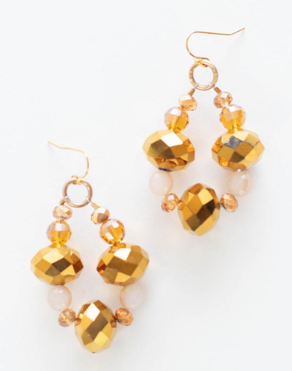 Champagne & Gold Crystal Necklace Set