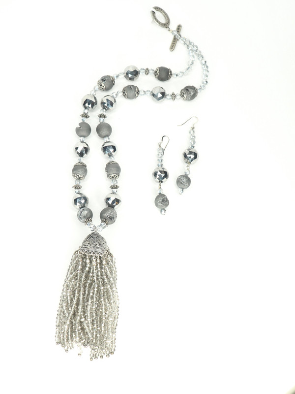 Grey Fancy Tassel Necklace Set