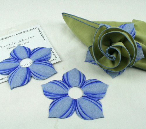 Bouquet Napkin Ring - Light Blue with suggested HoneyDew with Light Blue Trim Napkin
