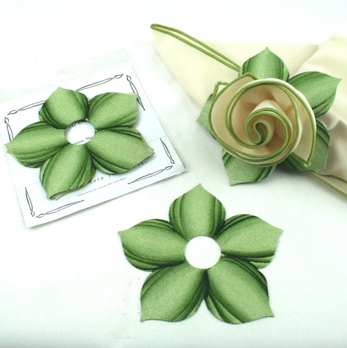 Bouquet Napkin Ring - Mint with Pine Highlights with suggested Ivory with HoneyDew Trim Napkin