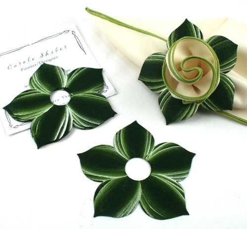 Bouquet Napkin Ring - Pine with Frost Highlights with suggested Ivory with HoneyDew Trim Napkin