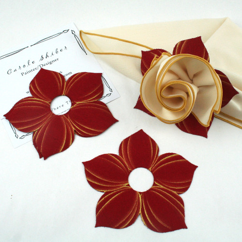 Bouquet Napkin Ring - Red with Gold Highlights with suggested Ivory with Gold Trim Napkin