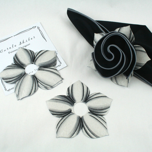 Bouquet Napkin Ring - White with Black Highlights with suggested Black with Silver Trim Napkin